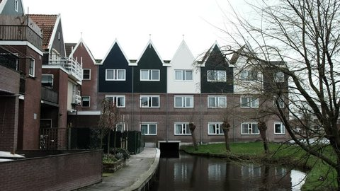 Beautiful architecture Volendam. Typical small Dutch houses facades in Volendam Netherlands