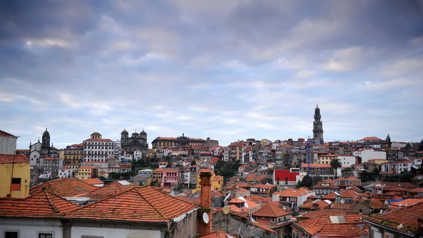 Time Lapse Aerial View Porto City Skyline Residential Building Rooftops Sunset
