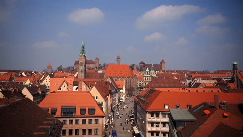 Time Lapse Aerial View of Nuremberg City Skyline People Walking on German Street