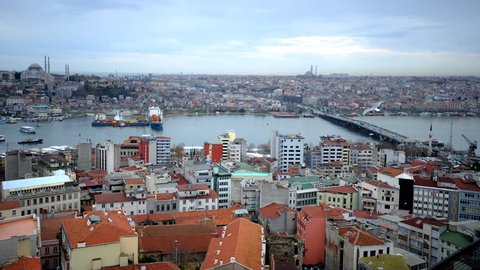 Time Lapse Aerial View Istanbul Skyline Ataturk Bridge Ferry Boat on Golden Horn