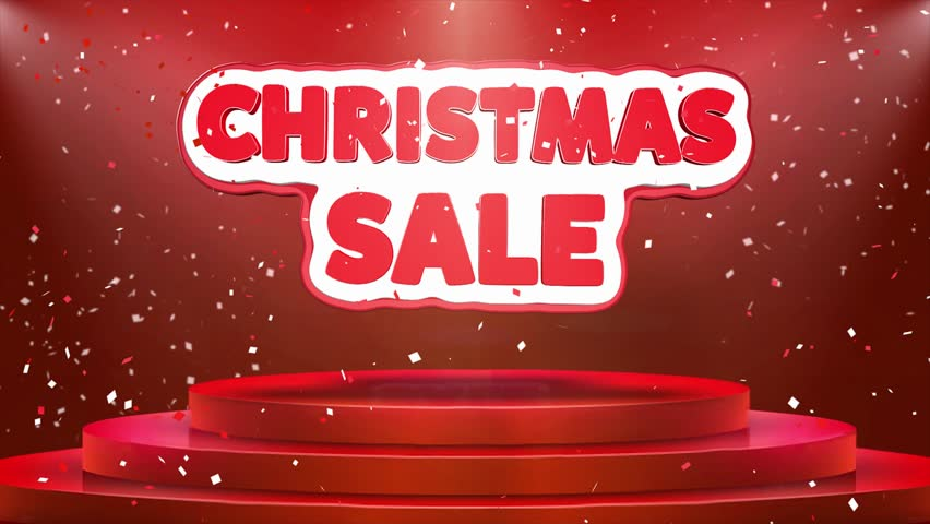 Christmas Sale Text Animation on 3d Stage Podium Carpet. Reval Red Curtain With Abstract Foil Confetti Blast, Spotlight, Glitter Sparkles, Loop 4k Animation. | Shutterstock HD Video #1028118923