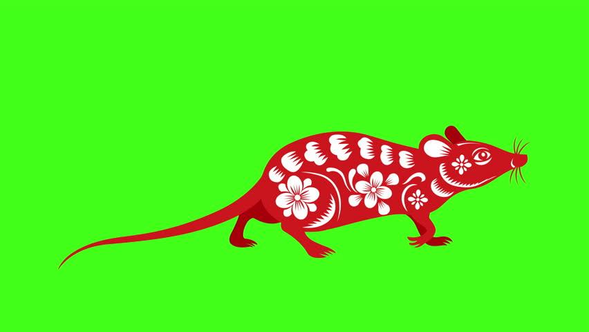 Red paper cut a rat zodiac symbols walk | Shutterstock HD Video #1028129333
