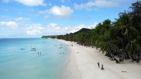 Pristine White Sand Beach, Palm Trees, Crystal Water. Boracay, Philippines.