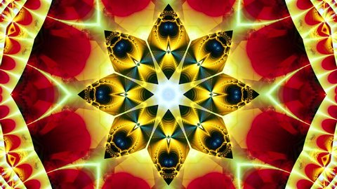 Red kaleidoscope sequence patterns. 4k. Abstract multicolored motion graphics background. Or for yoga, clubs, shows, mandala, fractal animation. Beautiful bright ornament. Seamless loop.