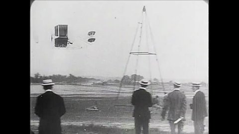 CIRCA 1900s - Orville and Wilbur Wright pioneer flight at Le Mans, France in 1908.