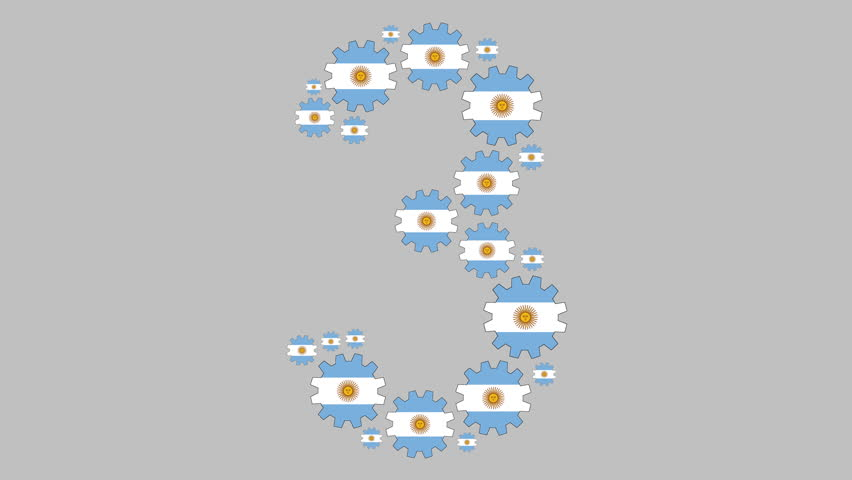 Turning argentinian flag gears shaping the number three over gray background | Shutterstock HD Video #1028378243