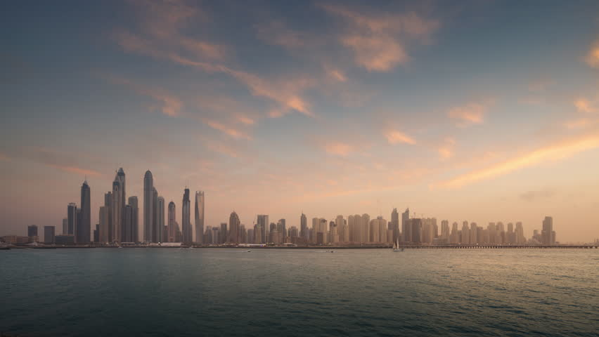 Timelapse of skyscrapers in Dubai Marina, sunset time, UAE | Shutterstock HD Video #1028382053