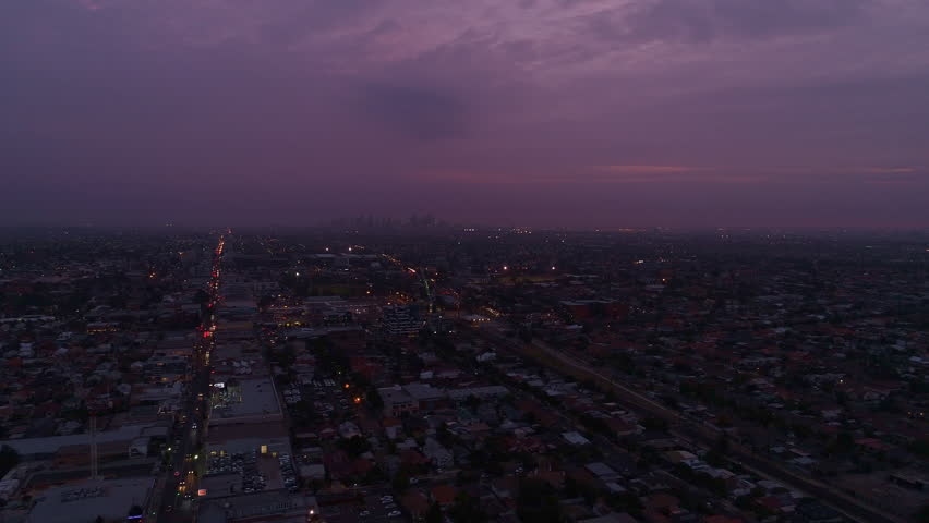 Melbourne City Aerial Sunset Evening 4K | Shutterstock HD Video #1028420333
