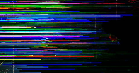 abstract multi color realistic screen glitch flickering, analog vintage TV signal with bad interference and color bars, static noise background, overlay