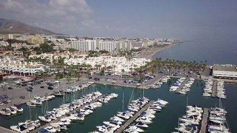 Sunny day at the beach/harbour in Torremolinos Spain