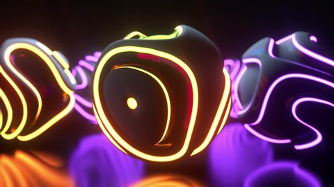 Glowing neon light spheres. Abstract background. Futuristic shapes with colorful wavy ripples. Motion design. Strobing curly pattern. 3d loop animation. Club party or night show concept. 4K UHD