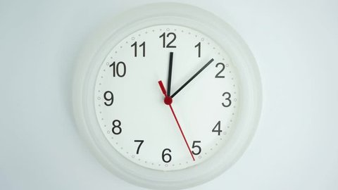 Eat lunch Twelve o'clock Close up White clock face beginning of time 12.10 am.