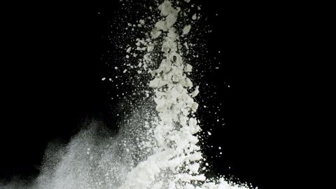 Splash of white powder isolated on black background. Stock footage. Close up for white abstract snow being thrown up.