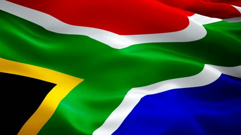 South Africa flag waving in wind video footage Full HD. Realistic South Africa Flag background. South Africa Flag Looping Closeup 1080p Full HD 1920X1080 footage