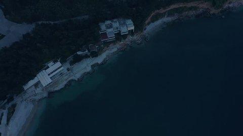 Palamidi Castle and Nafplio town, Epic Aerial tilt revealing Greece Historic Destination