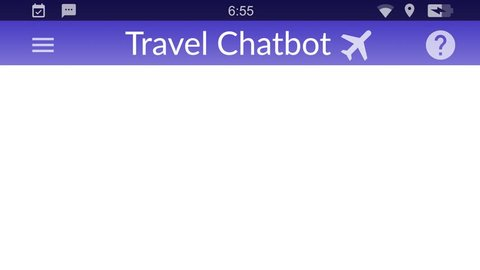 Travel chatbot service helping a customer. Messaging app animation with text bubbles simulating a real chat between users.