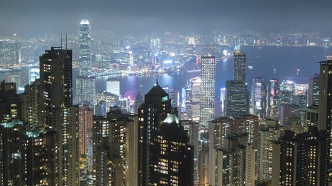 time lapse scene of Hong Kong city at night illumination 4k video