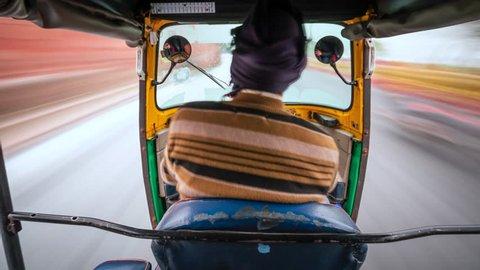 Tuk tuk ride POV time lapse in Agra, India.