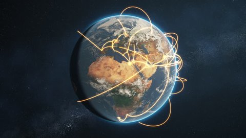 3d animation of a growing network across a realistic earth. Seamless loop. Abstract global business network concept. Orange day version. Elements of this image furnished by NASA