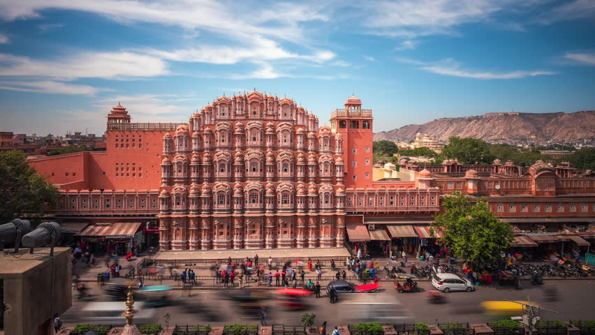 Jaipur, Rajasthan, India, time lapse view of architectural landmark Hawa Mahal aka Palace of the Winds located in the Pink City of Jaipur.