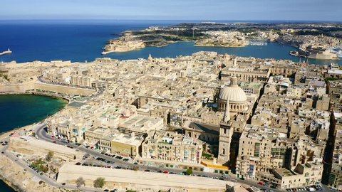 Aerial view of Valletta city. Malta island