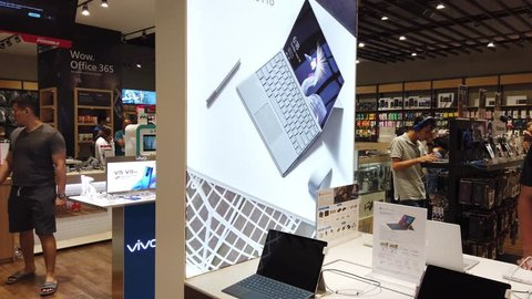Kuching, Malaysia - May 2019. CInematic closed up shot of Microsoft Surface Go at microsoft show space at an electronic store. Microsoft surface is a laptop-tablet hybrid that is perfect for travel