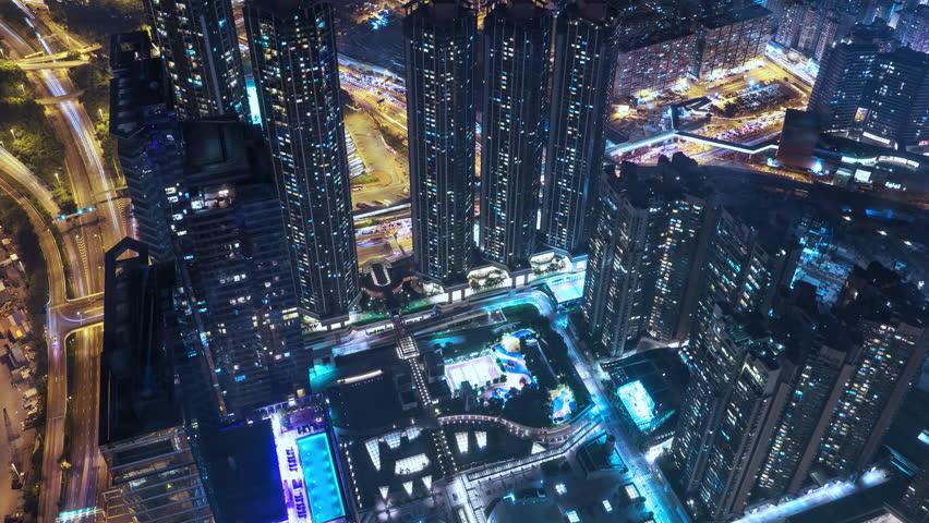 Modern architecture of Hong Kong at night | Shutterstock HD Video #1028875013