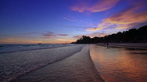 Colorful sunset over the beach in the tropical beach sea,the tropical paradise beach of Thailand