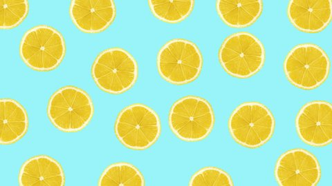 Minimal motion design animation. Lemons wiggle color background. Abstract graphics in trendy colors and style. Seamless looping animation.