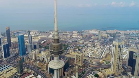 KUWAIT CITY, KUWAIT - View of the Liberation Tower in Kuwait (aerial photography)