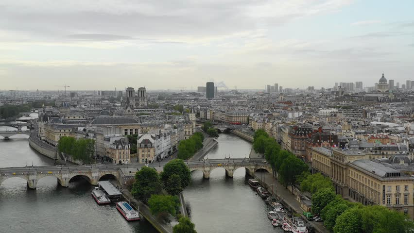 Aerial view of Paris, Seine river and Cite island | Shutterstock HD Video #1029010253