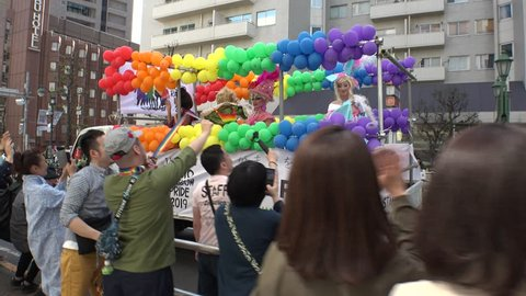 """TOKYO,  JAPAN - 28 APRIL 2019 : LGBT parade """"Tokyo Rainbow Pride"""" festival at Shibuya and Harajuku. The event is Japan's largest of its kind in the support of the rights of sexual minorities."""