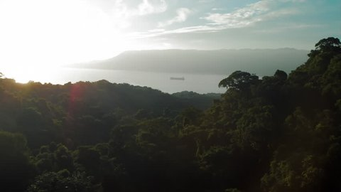 Aerial: Looking Over Jungle at Large Island and Boat in Water in Ilhabela, Brazil
