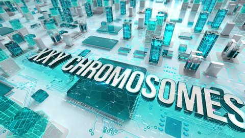 XXY Chromosomes with medical digital technology concept