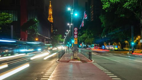 Sao Paulo, Brazil - January 27: Night time lapse view of traffic on Paulista Avenue in Sao Paulo, Brazil.