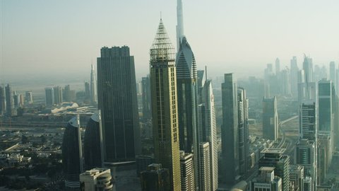 Aerial Dubai Burj Khalifa Sheikh Zayed Road Dubai Metro Rail UAE