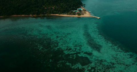 Aerial - drone flying over peaceful tropical bay. Coron Bay, Philippines. UNESCO World Heritage Tentative List site.