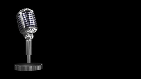 Podcast and audiobook background visuals of rotating chrome microphone against a black background - seamless looping.
