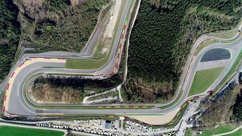 Aerial top down view of Circuit de Spa-Francorchamps is motor racing track located in Stavelot Belgium also referred to as Spa it is the venue of the Formula One Belgian Grand Prix 4k high resolution