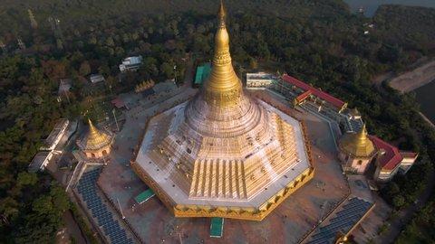 "Mumbai, India, ""Global Pagoda"" temple, 4k aerial drone sunset footage"