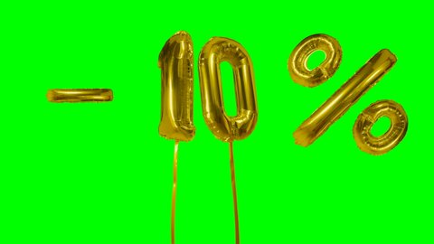 Discount 10 ten percent off gold balloon sale banner floating on green screen shopping offer