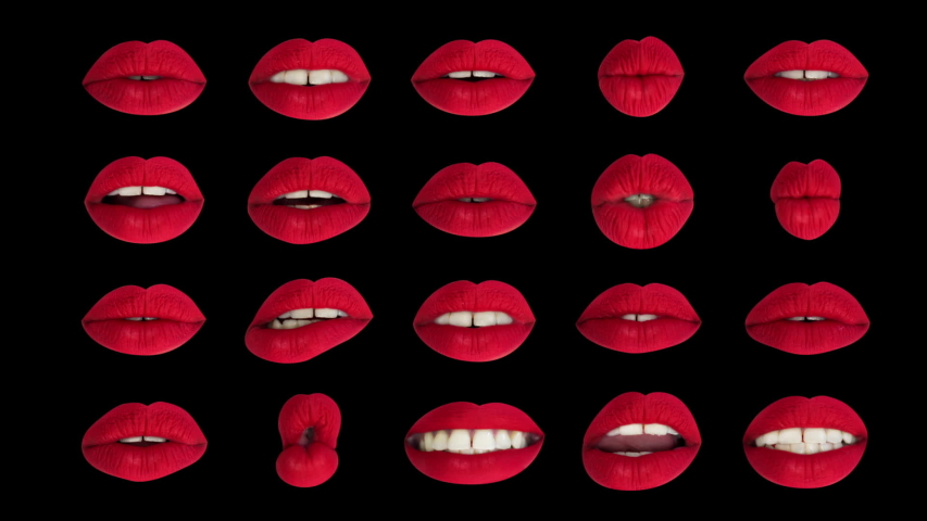 Sequence of different images of woman's beautiful full red lips made into a grid pattern with intentional overlayed distortion | Shutterstock HD Video #1029622223