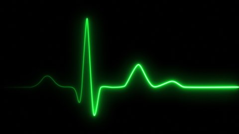 Neon heartbeat on black isolated background. 4k seamless loop animation. Background heartbeat line neon light heart rate display screen medical research