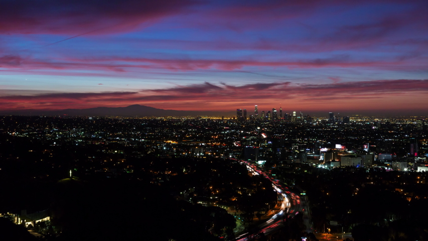Los angeles skyline and hollywood beautiful skyfire sunrise  | Shutterstock HD Video #1029750683