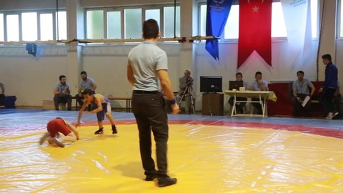 Youth wrestlers competing in the mat  /Samsun,TURKEY 08.03.2016