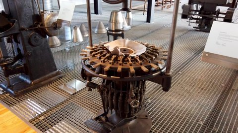 SAO JOAO DA MADEIRA, PORTUGAL - MAY 18, 2019:  Manufacturing head wear processes and machines in exhibition at the Chapelaria Museum during the International Museum Day.