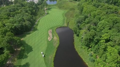 Aerial shot of golf course.
