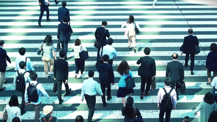 Japanese businessmen go to work in the morning in Tokyo Japan | Shutterstock HD Video #1030032413