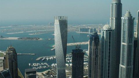 Aerial Skyscrapers Dubai Palm Jumeirah Island homes UAE