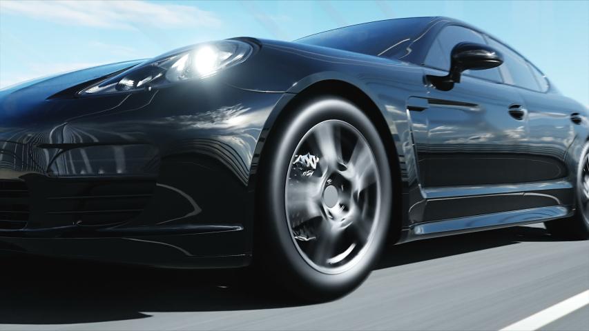 3d model of black sport car on the bridge. Very fast driving. realistic 4K animation. | Shutterstock HD Video #1030085753